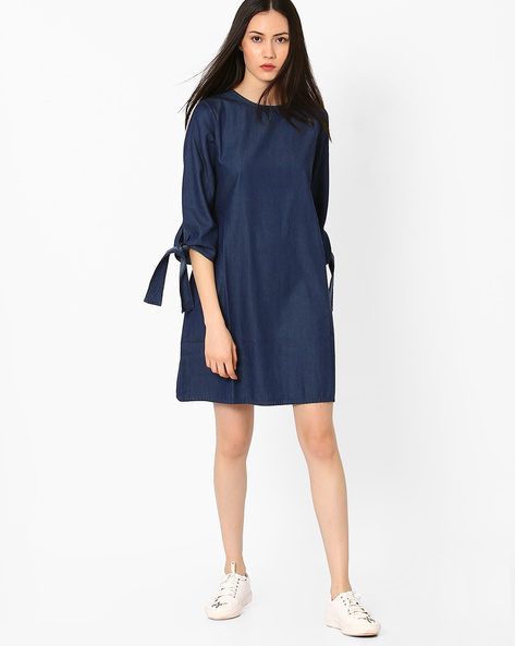 Denim Cold-Shoulder Dress By AJIO ( Navyblue )
