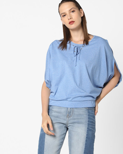 Blouson Top With Slit Sleeves By AJIO ( Blue )