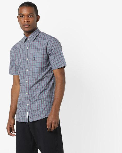 Checked Shirt With Patch Pocket By US POLO ( Grey )