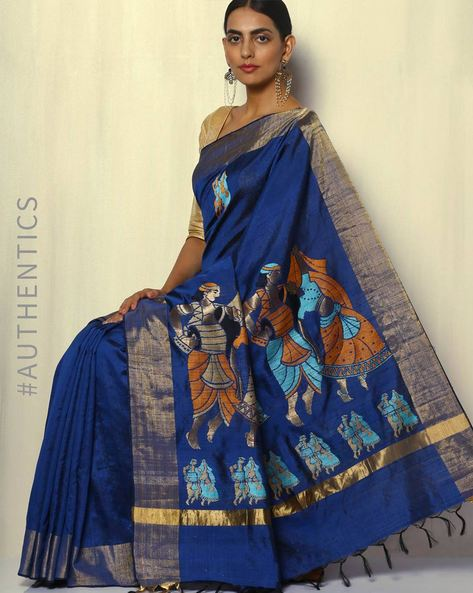 Handloom Designer Pure Silk Dupion Saree By Pretty Woman ( Blue ) - 460092137001