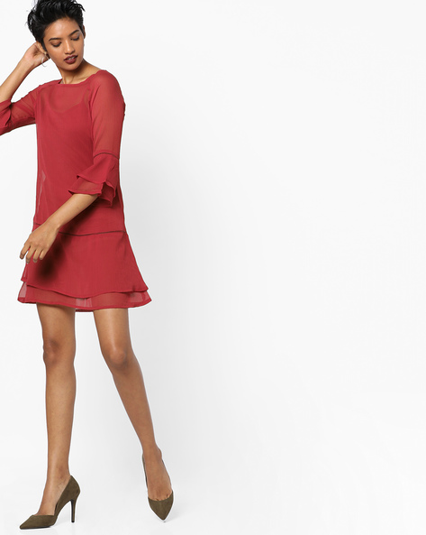 Shift Dress With Bell Sleeves By Oxolloxo ( Red )
