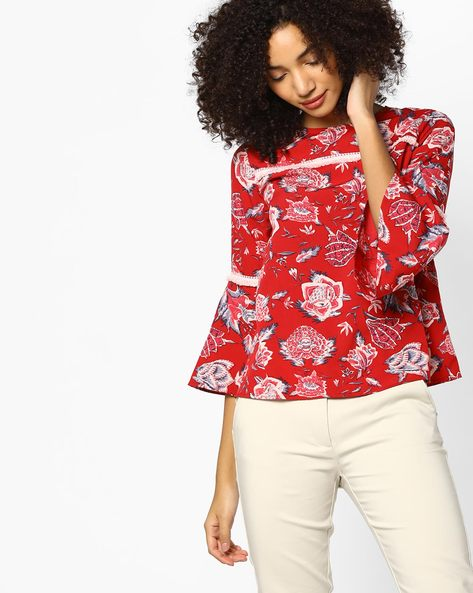 Floral Print Top With Bell Sleeves By Femella ( Red )