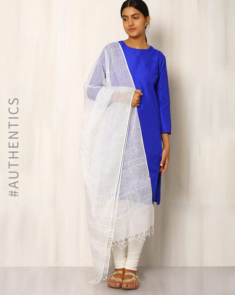 Gold Khari Print Kota Cotton Silk Dupatta By Indie Picks ( White )