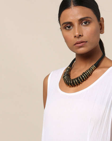 Bead Short Necklace With Metal Rings By IMLI STREET ( Black )
