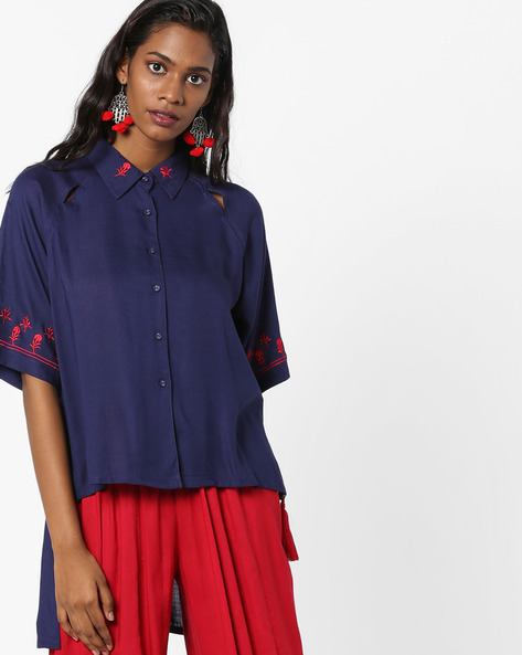 High-Low Shirt With Embroidered Hems By AJIO ( Navy )