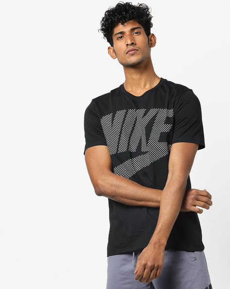 Printed Cotton Crew-Neck T-shirt By NIKE ( Black )