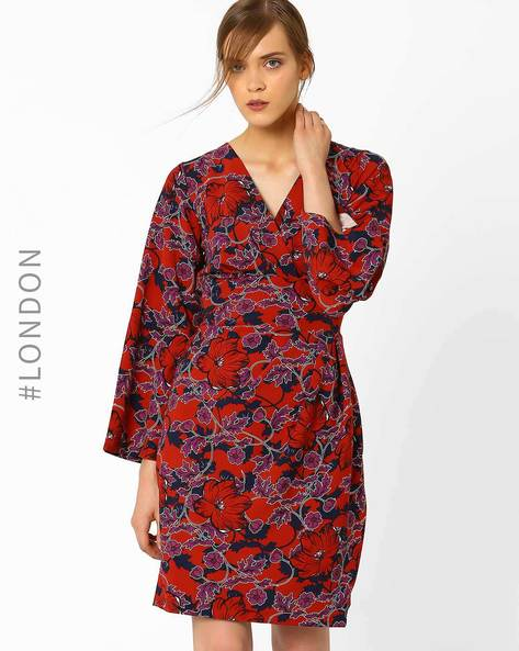 Floral Print Wrap Dress With Tie-Up By Closet London ( Purple )