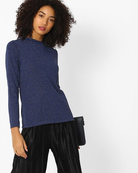 Textured High-Neck Top By FIG ( Navy )