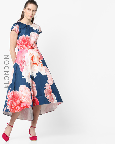 Floral Print High-Low Dress By Closet London ( Multi )