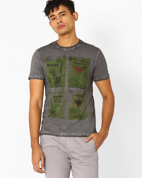 Graphic Print Regular Fit T-shirt By AJIO ( Grey )