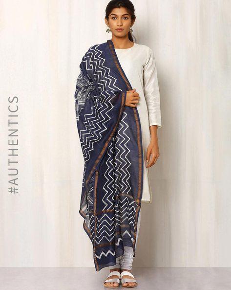 Hand Block Print Chanderi Dupatta By Keri ( Indigo ) - 460014725001