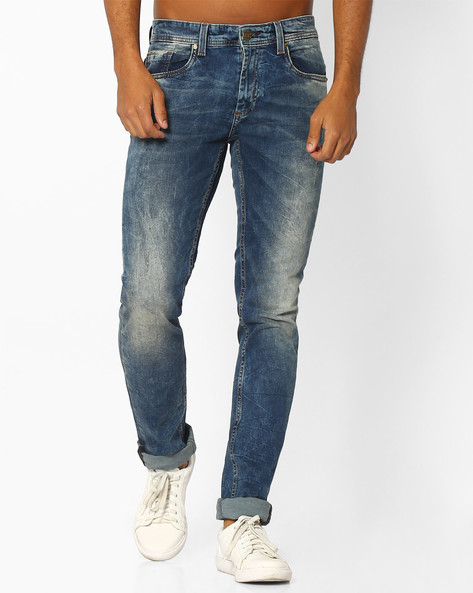 Lightly Washed Skinny Stretch Jeans By BASICS ( Blue )