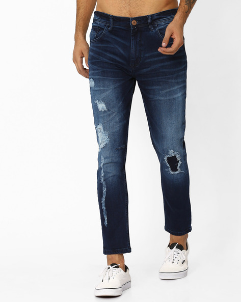 Lightly Washed Distressed Denims By ADAMO LONDON ( Navyblue )