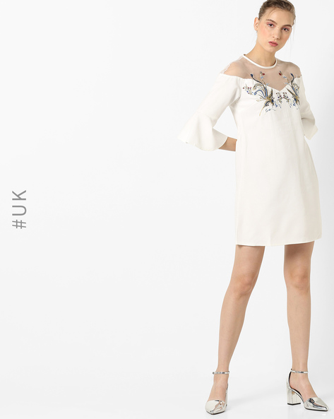 Embroidered A-line Dress With Sheer Yoke By OEUVRE ( White )