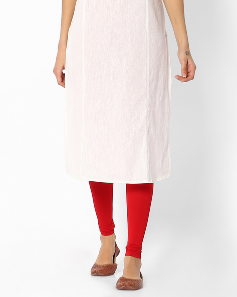 Churidar With Elasticated Waistband By Melange By Lifestyle ( Red )