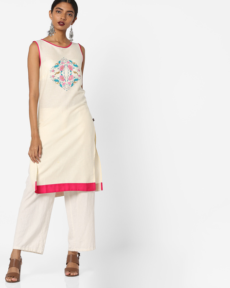 Sleeveless Straight Kurta By Juniper ( Cream )