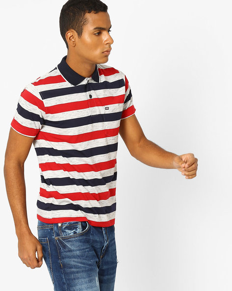 Striped Polo T-shirt With Patch Pocket By Fort Collins ( Red ) - 460070647001