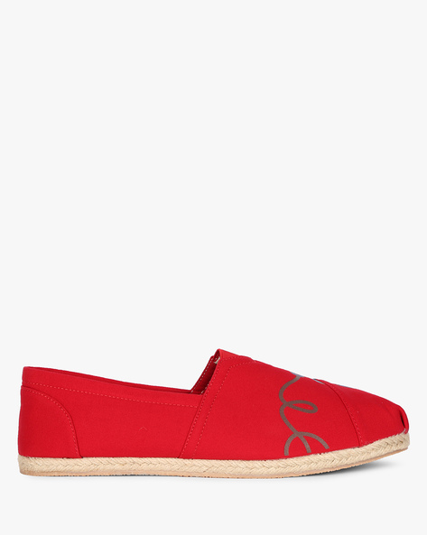 Graphic Print Panelled Espadrilles By AJIO ( Red )