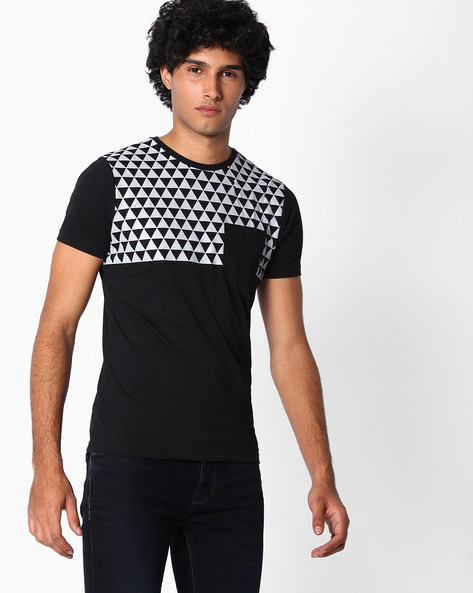 Geometric Print Slim Fit T-shirt By The Indian Garage Co ( Black )