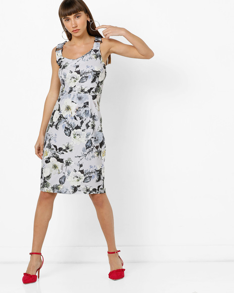 Floral Print Sheath Dress With Criss-Cross Back By AJIO ( White )
