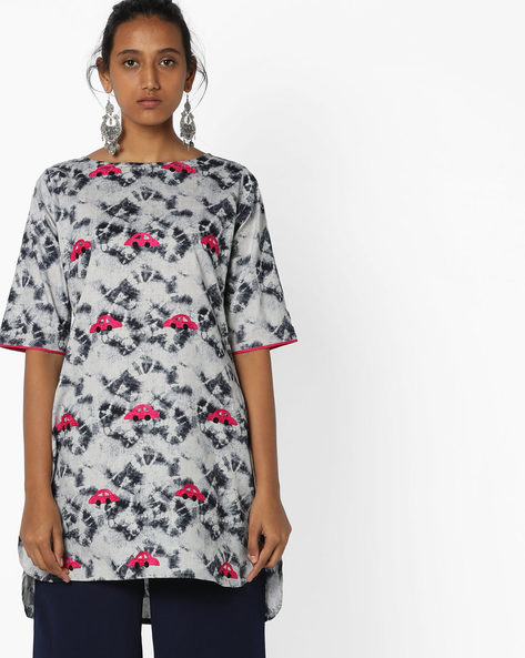 Printed High-Low Tunic With Embroidery By Breya ( Grey )