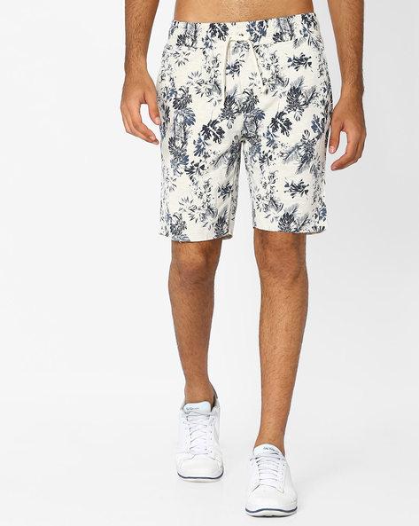Tropical Print Slim Fit Shorts By AJIO ( Blue )