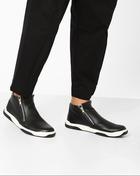 High-Top Casual Shoes With Zipper By AJIO ( Black )