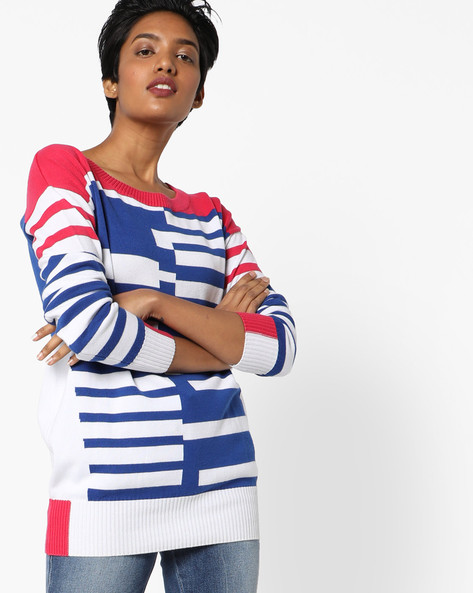 Striped Pullover With Ribbed Hems By Lee ( Pink )