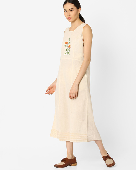 Sleeveless Flared Kurta By AJIO ( Offwhite )