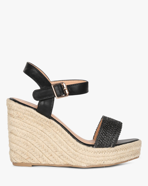 Wedge Heel Sandals With Buckle Fastening By Project Eve ( Black )