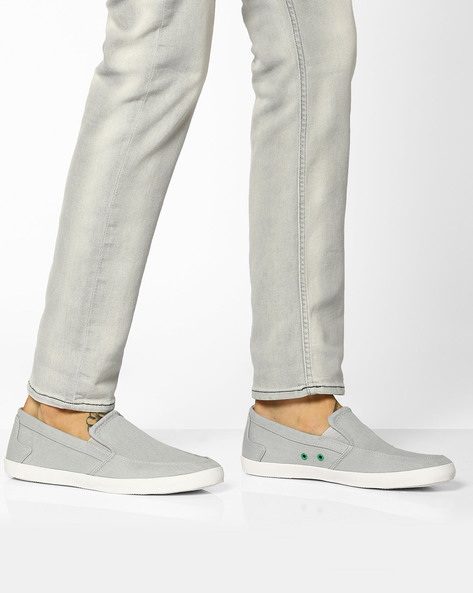 Canvas Slip-Ons With Contrast Eyelets By UNITED COLORS OF BENETTON ( Grey )