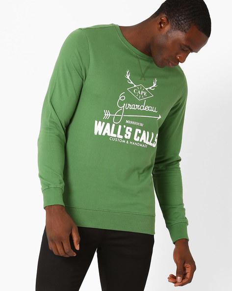 Lightweight Graphic Print Regular Fit Sweatshirt By AJIO ( Green )