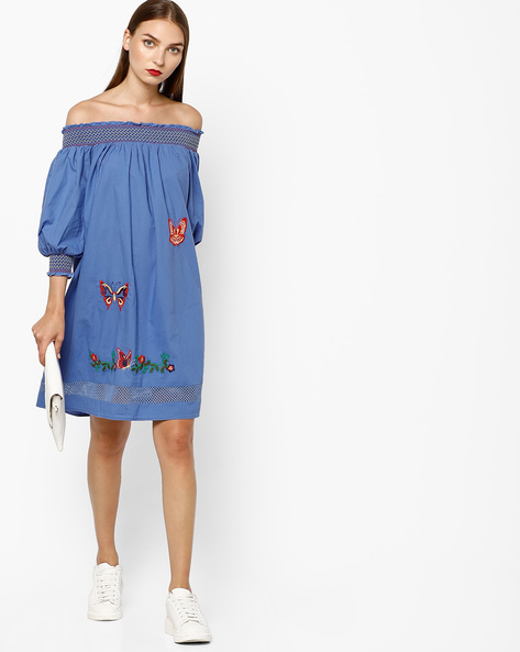 Embroidered Off-Shoulder Shift Dress By AJIO ( Blue )