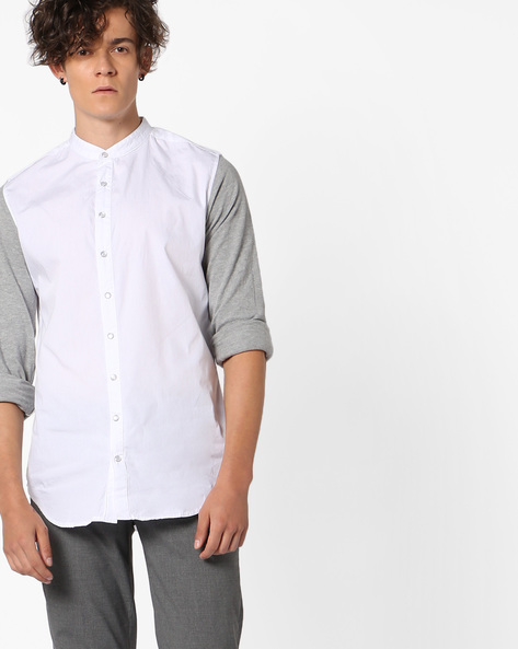 Classic Shirt With Contrast Sleeves By ADAMO LONDON ( Multi )