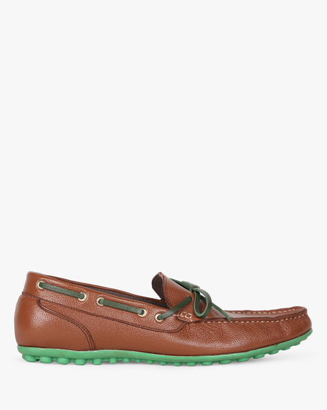 Genuine Leather Loafers With Bow Detail By Hats Off Accessories ( Brown )