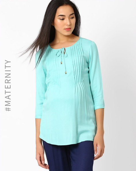 Maternity Tunic With Pintucks & Tie-Up By AJIO ( Aqua )