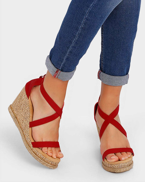 Strappy Wedges With Zip Closure By Get Glamr ( Red )