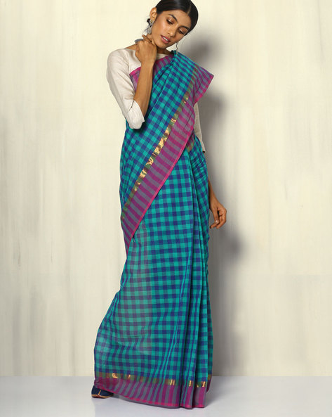 South Cotton Checked Saree With Zari Border By Indie Picks ( Blue ) - 460104784001