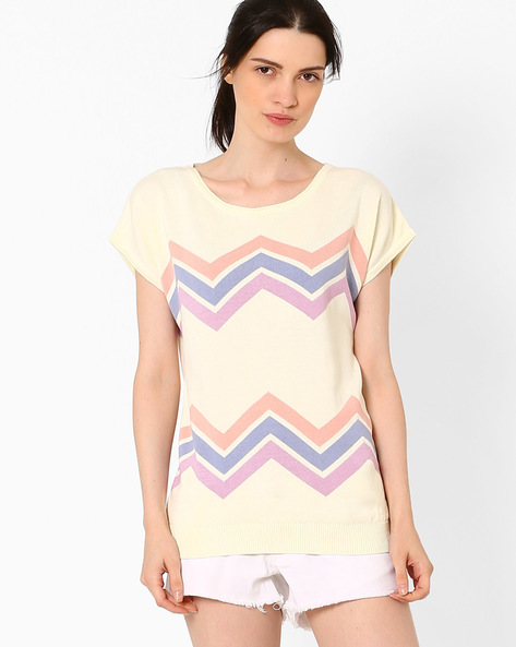 Flat Knit Top With Short Sleeves By AJIO ( Offwhite )