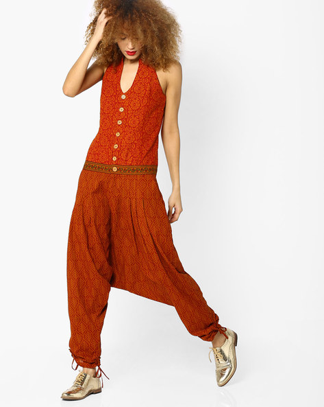 Printed Collared Jumpsuit With Tie-Ups By Desi Weaves ( Rust )