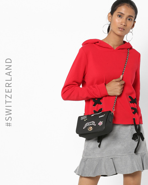 Hooded Sweatshirt With Criss-Cross Tie-Ups By TALLY WEiJL ( Red )