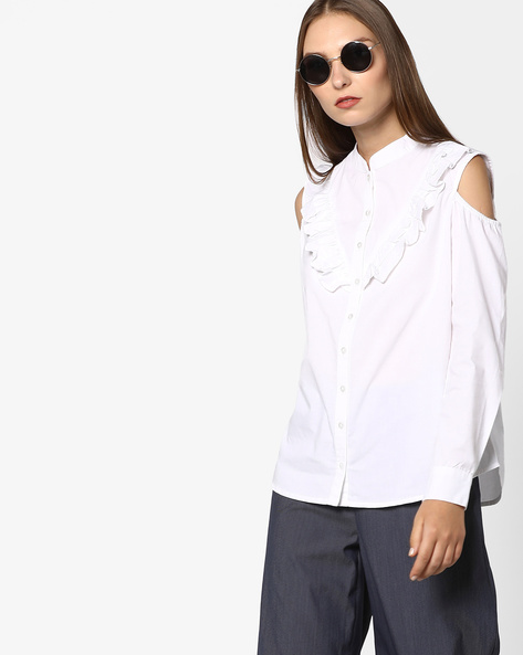 Cold-Shoulder Shirt With Mandarin Collar By Femella ( White )