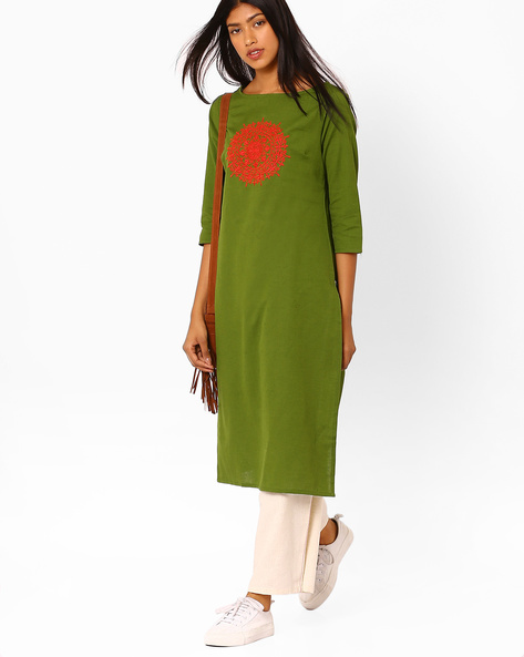 Straight Kurta With Placement Embroidery By AJIO ( Olive )