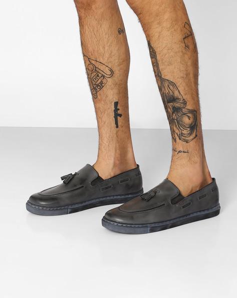 Slip-On Sneakers With Tassels By TURN ( Grey )