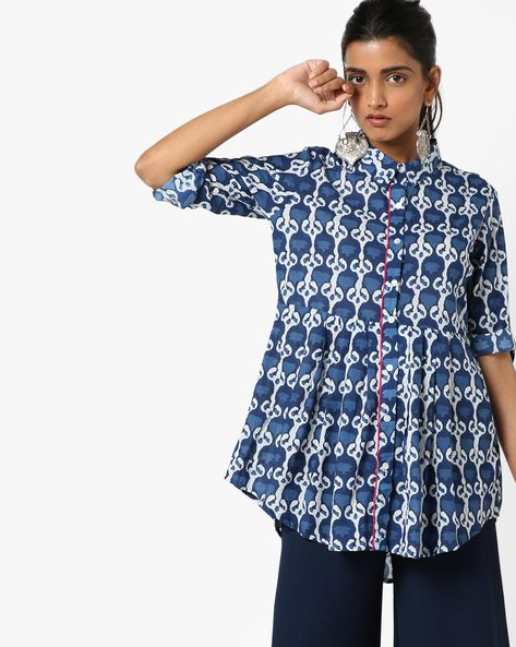 Printed A-Line Kurti By Anjani ( Blue )