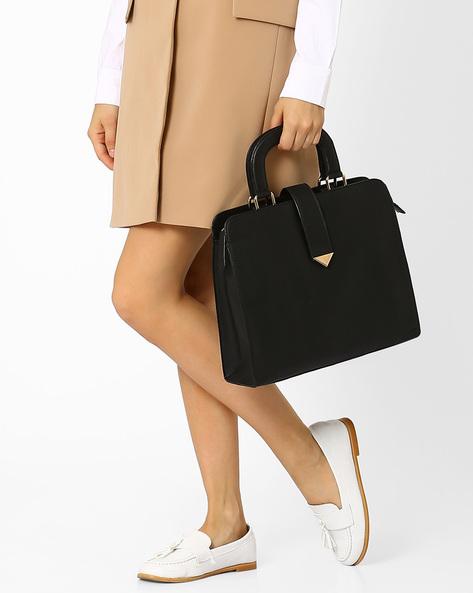 Faux-Leather Handbag By AJIO ( Black )