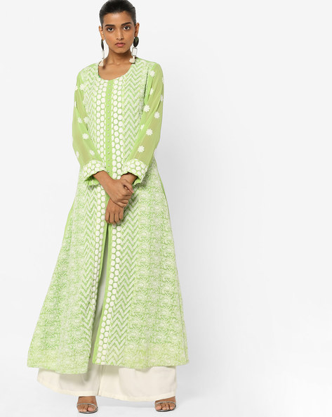Embroidered Kurta With Front Slit By Shree ( Green )