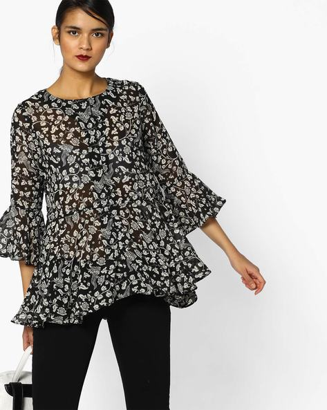 Printed Top With Bell Sleeves By PE IW Fusion ( Black )