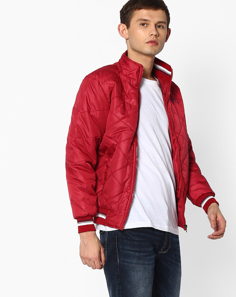 Regular Fit Padded Quilted Jacket By Fort Collins ( Maroon )