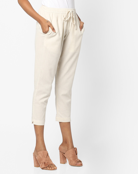 Calf-Length Pants With Drawstring Fastening By Project Eve IW Casual ( Natural )